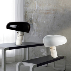 Marmur włoski lampa stołowa grzyby biały czarny kapelusz stół światło nowoczesne luksusowy Hotel sypialnia badania oczu Room oświetlenie domu 90- 260 V