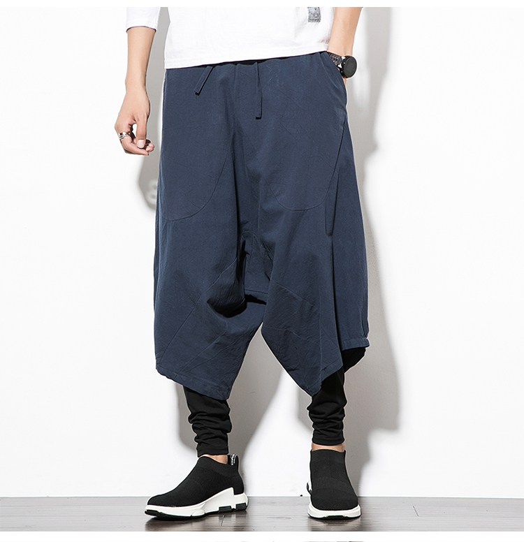 MRDONOO Men Pants Men's Wide Crotch Harem Pants Loose Large Cropped Trousers Wide-legged Bloomers Chinese Style Flaxen Baggy 123