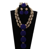 Royal Blue Beaded Pendant Necklace Set Gold Beads Layers Statement African Jewelry Set for Nigerian Wedding Brides WE189