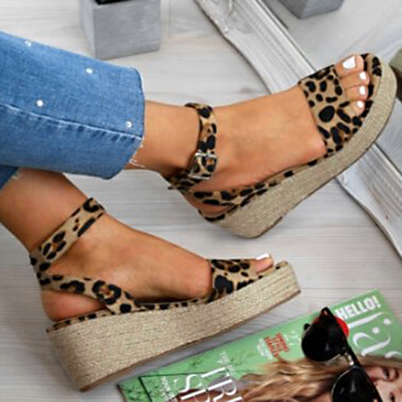 Women Weave Patch Shoes Slip on Peep Toe Ladies Cork Wedge Sandals Female Platform Summer Trifle Sandals Shoes Flats Size 35-43