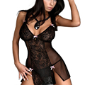 Women Lace Euro-Amer Hot Sexy Lingerie Large Sexy Lingerie perspective See Through Mesh Nightgown Dress Erotic Costume Plus Size