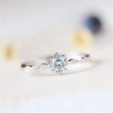 SHUANGR Dainty Blue Crystal Ring for Women Simple Style Square Engagement Finger ladys Fashion Jewelry bague bijoux