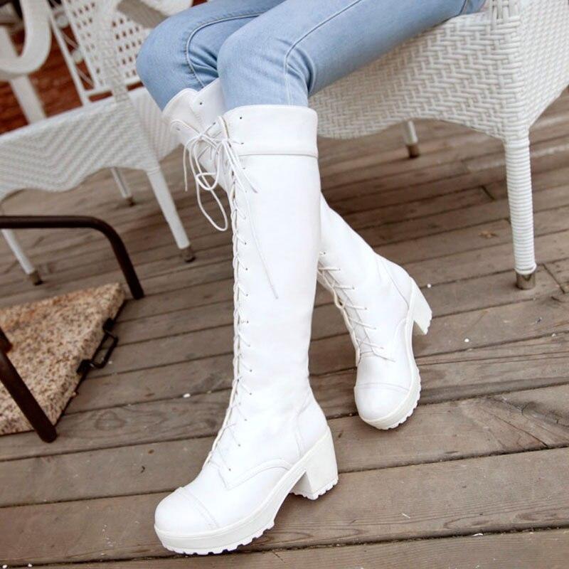 2018 Herbst Plattform Lange Stiefel Neue Stil Frauen Hohe Ferse Knie-hohe Stiefel Weibliche Spitze Up Cos Frauen Stiefel Große Größe Harmonische Farben