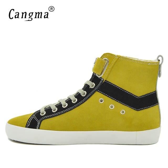 US $119.99 |CANGMA Italienische Marke Turnschuhe Frauen Stiefel Kuh Wildleder Freizeitschuhe Womans Aus Echtem Leder Handgefertigt Weibliche Gelbe