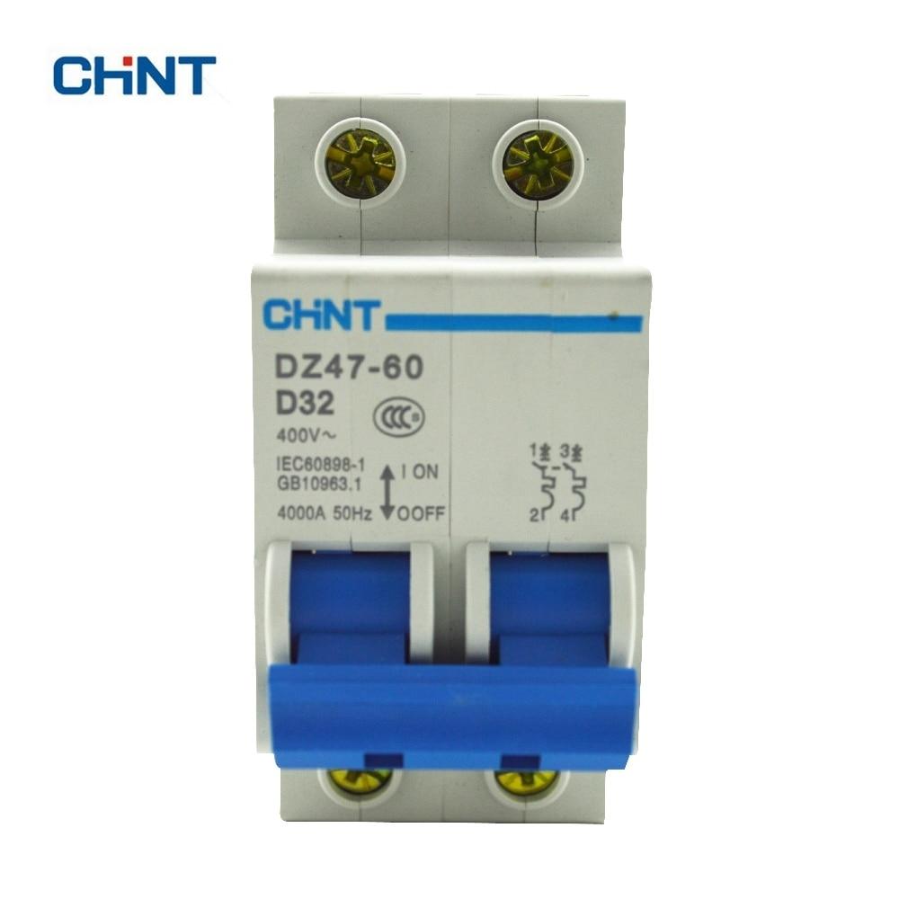 CHINT Miniature Circuit Breaker Mcb DZ47-60 2P D32 Household Air Switch 32A