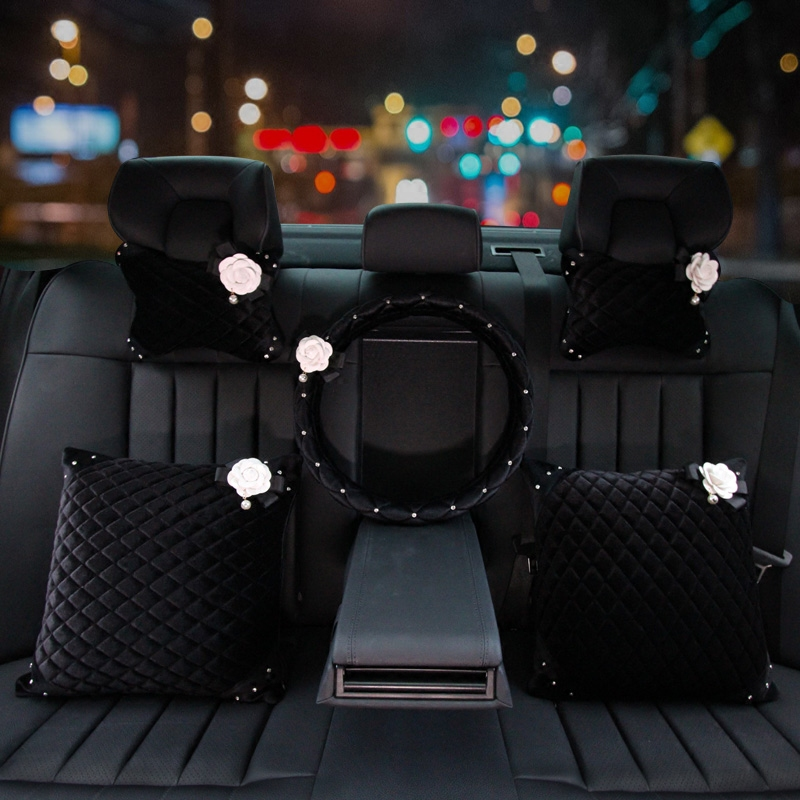 Winter-Plush-Flower-Car-Seat-Interior-Accessories-Crystal-Steering-Wheel-Cover-Headrest-Shifter-Gear-Cover-4