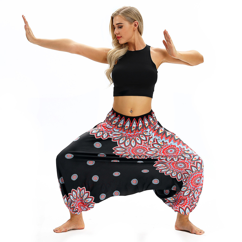 Women Men Pants Casual Woman High Waist Wide Leg Harem Trousers Baggy Boho Loose Aladdin Festival Hippy Jumpsuit Print Lady pant 91