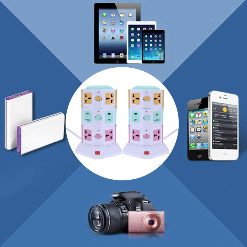 3 couche Universelle Intelligente Prise Électrique Vertical Puissance Prise de Courant Avec Interrupteur Indépendant LED Lumières MP3 jouer + 2 USB ports - 2