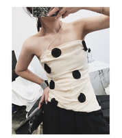 Cakucool New Spaghetti Women Vintage Polka Dots Tube Camisole Femme Sexy Halter Camis All match Pleats Basic Tank Top Apricot