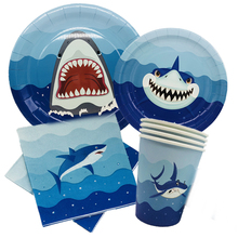 Omilut Baby Shark Disposable Tableware Set Blue Birthday Party Dispoasble Plates/Cups/Paper/Tablecloth Ocean party Decor