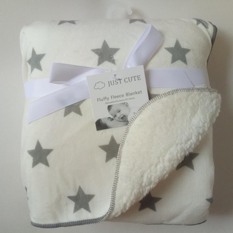 Just Cute Baby Blanket Coral Fleece Cartoon Double Layer