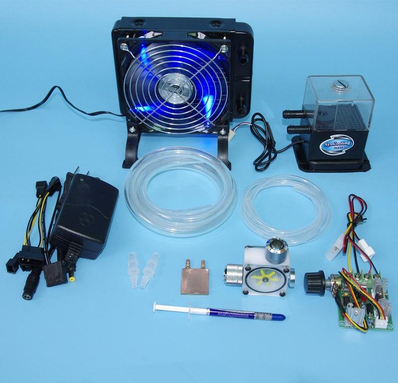 все цены на  DIY Laptop CPU GPU water liquid cooling cooler radiator Copper Block Heat sink water Pumps fans sets kit  онлайн