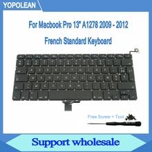 """חדש AZERTY צרפתית מקלדת עם בורג מברג עבור Macbook Pro 13 """"A1278 מקלדת 2009 2010 2011 2012"""