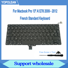 """New AZERTY French Keyboard With Screw Screwdriver For Macbook Pro 13"""" A1278 Keyboard 2009 2010 2011 2012"""