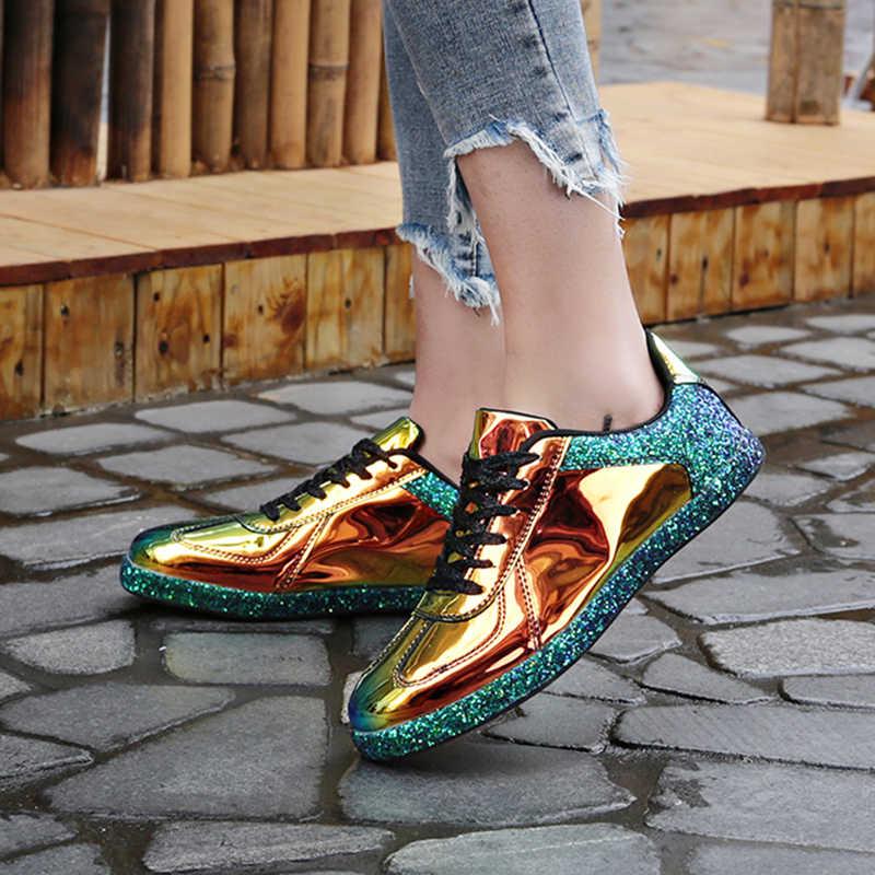 Gnome mulheres tênis de ouro brilho brilhante bling moda casual oxford sapatos mulher senhora ballet flats brilhante tênis alpercatas
