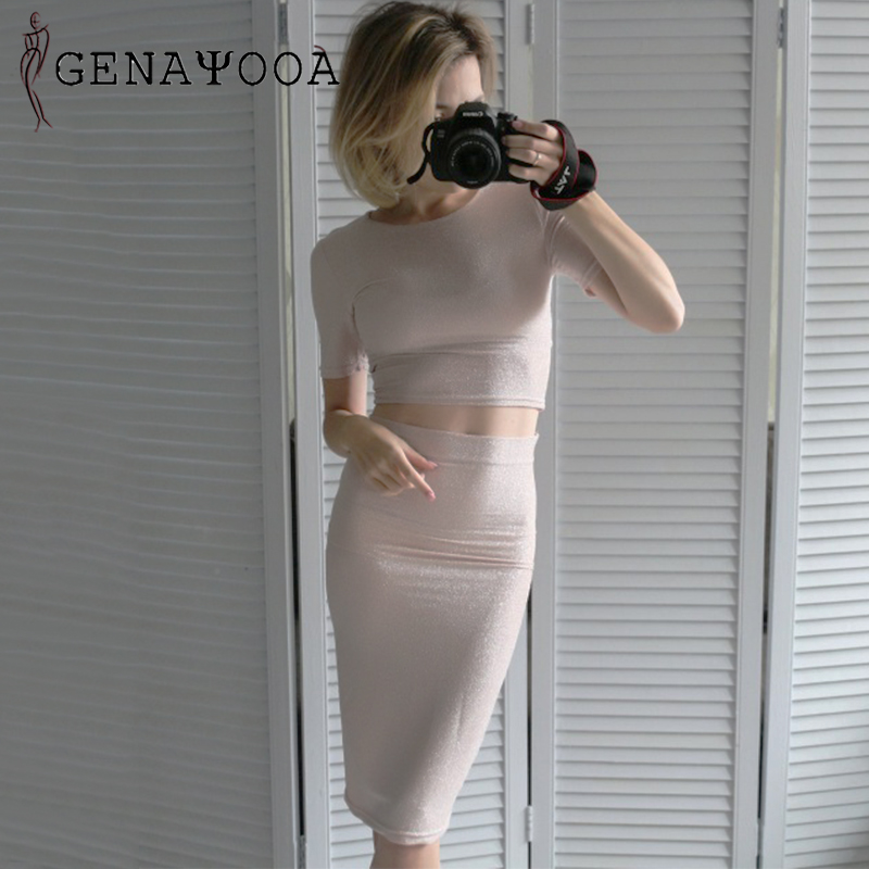 Two Piece Set Top And Skirt Sexy 2 Piece Set Women Mini Skirt Crop Tops Elastic Bling Women Two Suits Outfits Two Piece Suit
