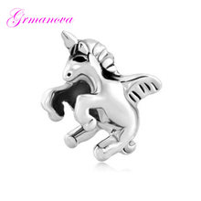 Unicorn charm beads swan handmade DIY jewelry making accessories amulet Fit Pandora Bracelet Necklace(China)