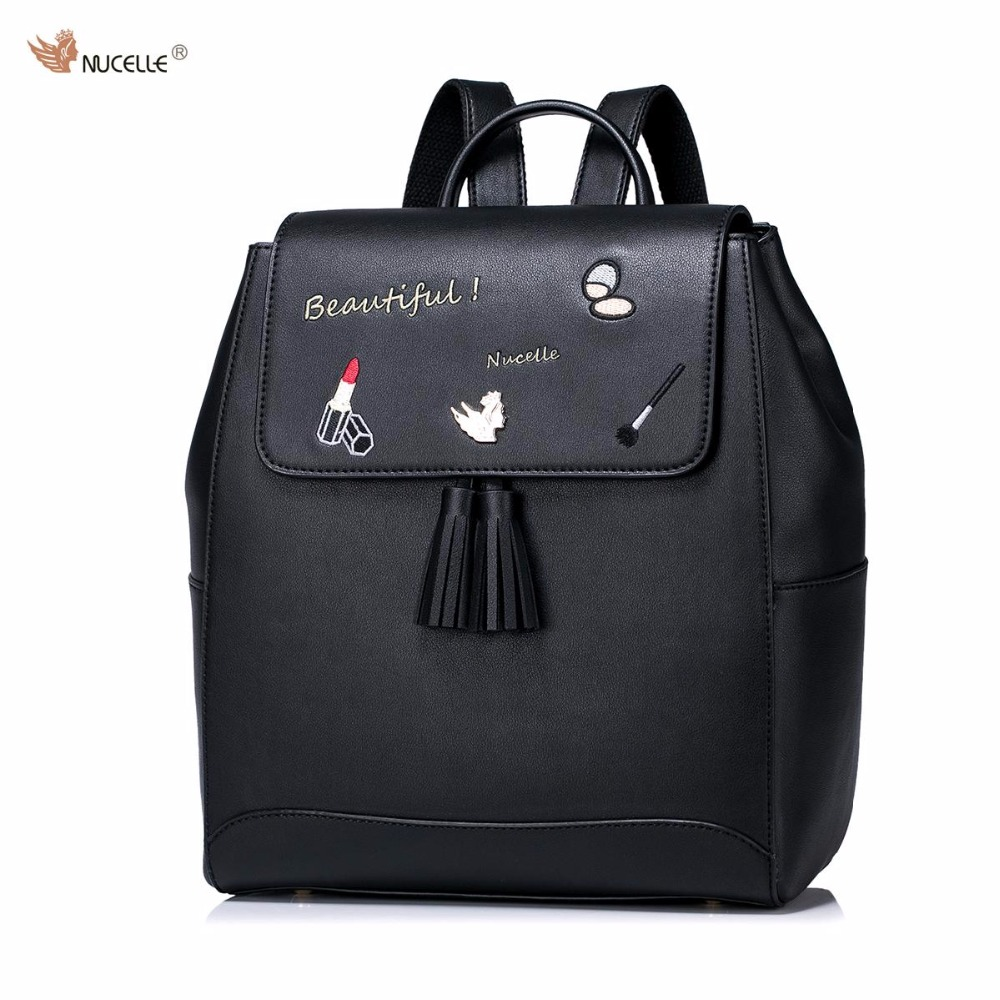ФОТО New NUCELLE Brand Design Women's Fashion Embroidery Tassels PU Leather Casual Ladies Girls Backpacks Shoulders Travel School Bag