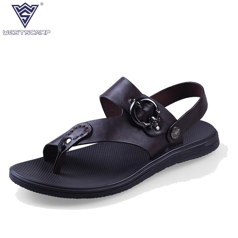 WEST SCARP 2018 New Summer Shoes Mens Sandals Outdoor Casual Sandals Men Shoes Genuine Leather Sandals Summer Sapato Masculino