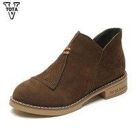 VTOTA Women Boots Autumn Winter Flock Ankle Boots Waterproof New Short Boots Platform Shoes Woman Round