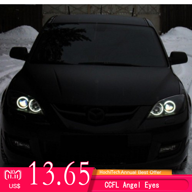 все цены на For Mazda 3 mazda3 2002 2003 2004 2005 2006 2007 Ultra Bright Day Light DRL CCFL Angel Eyes Demon Eyes Kit Warm White Halo Ring
