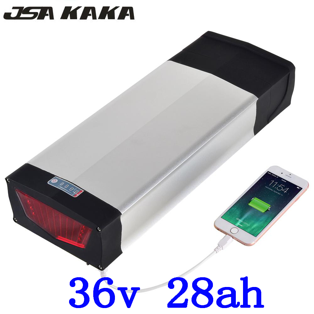 36V 500W 1000W battery 36V 27AH ebike battery 36V 28AH electric lithium battery with charger +USB port+Tail Light+luggage rack image