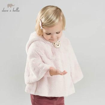 DBM8601 dave bella  autumn winter baby girl lovely jacket children fashion outerwear kids pink coat bear