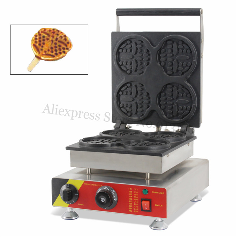 Electric 4 Round-shape Waffle Machine Commercial Lolly Waffle Baker Maker Nonstick Cooking Surface