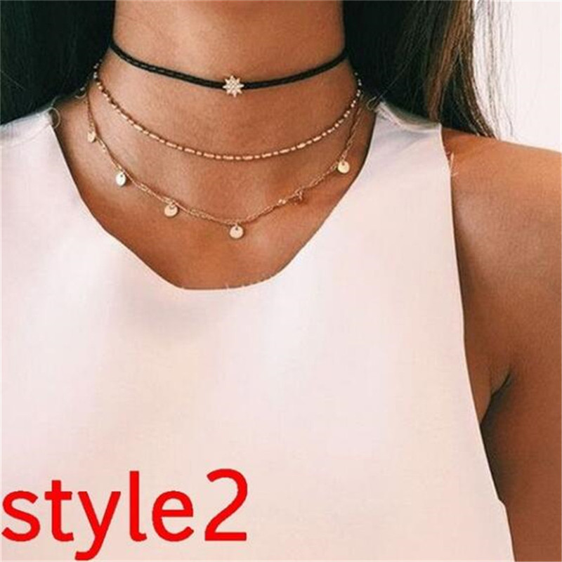 Многослойный Кристалл лунные ожерелья и кулоны для женщин винтажное очаровательное Золотое колье ожерелье богемное ювелирное изделие - Окраска металла: FCS329