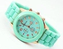 Повседневная Часы Женева Мужской Кварцевые часы 14 цветов мужчин, женщин Аналоговые наручные Часы Спортивные Часы Розовое Золото Силиконовые часы Dropship