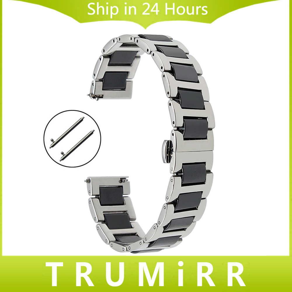 Ceramic + Stainless Steel Watchband Universal Quick Release Watch Band Butterfly Clasp Wrist Strap 12mm 14mm 16mm 18mm 20mm 22mm quick release stainless steel watchband 16mm 18mm 20mm 22mm universal band butterfly buckle bracelet replacement strap 4 colors