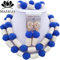 Fashion african wedding beads Royal Blue plastic and coral nigerian wedding african beads jewelry set Free shipping Majalia 254