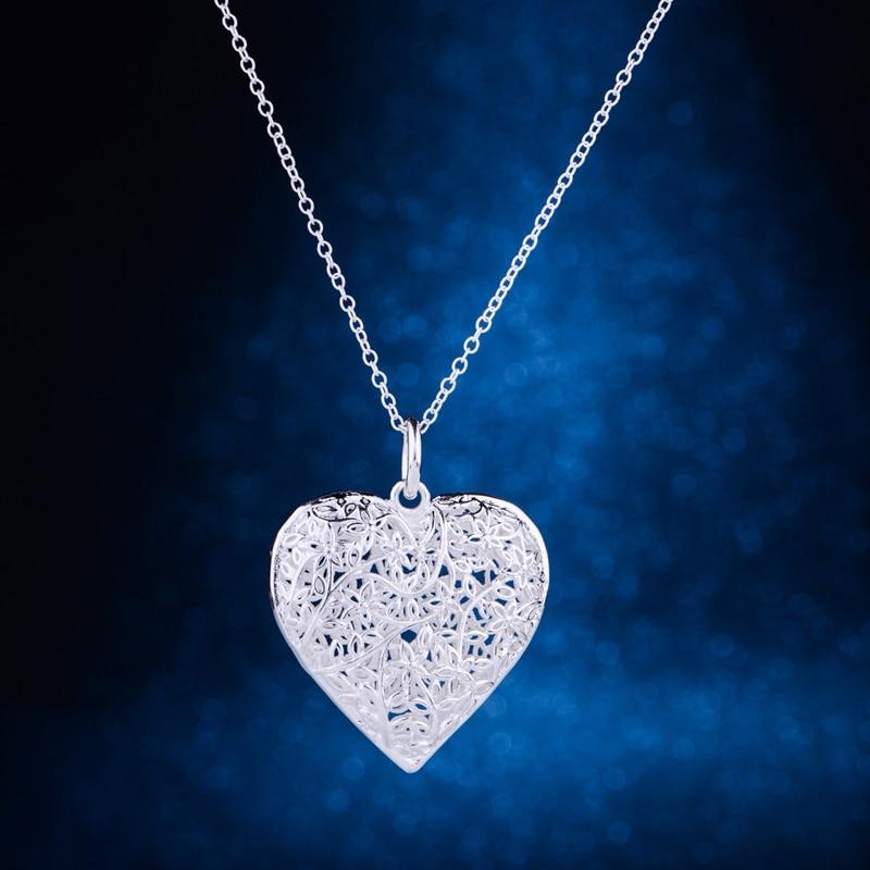 cordiform hollow shiny  love heart silver plated Necklace 925 jewelry silver Pandant Fashion Jewelry LQ-P218 PCYCZEHH