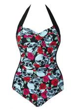 Sexy Women Strappy One Piece Swimsuit Push Up Skull Print Halter Backless Beachwear High Waist  Swimwear Plus Size M~4XL