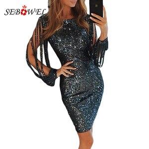 Image 3 - Sebohel robe de soirée à paillettes, manches longues, tenue Sexy, moulante, à paillettes métalliques, pour femme