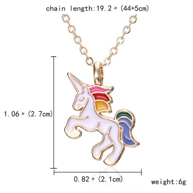 Cartoon Unicorn Enamel Pendant Necklace For Girls