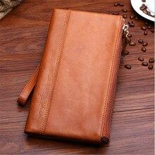 2016 Vintage Men Long double zipper Wallet Genuine Leather wallets Men Long Vertical Wallet Credit Card Holder Purse Handbag
