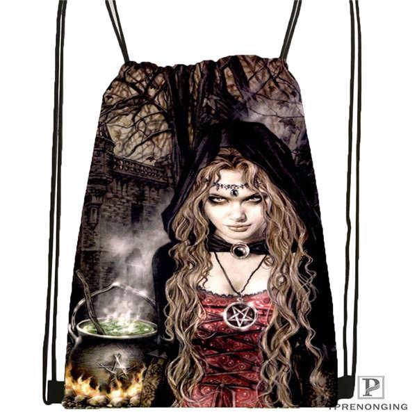 Custom Victoria Frances Drawstring Backpack Bag Cute Daypack Kids Satchel (Black Back) 31x40cm#180611-01-31