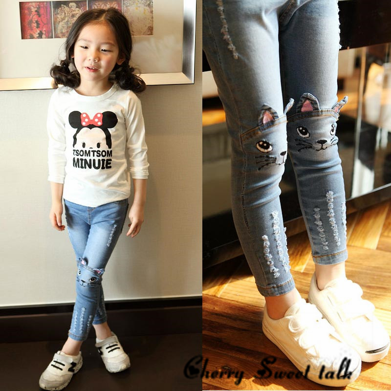 Girl jeans, spring and autumn kids clothing casual jeans pants, Cartoon image girls jeans 2 3 4 5 7 8 9 10 11 12 13 14 years old