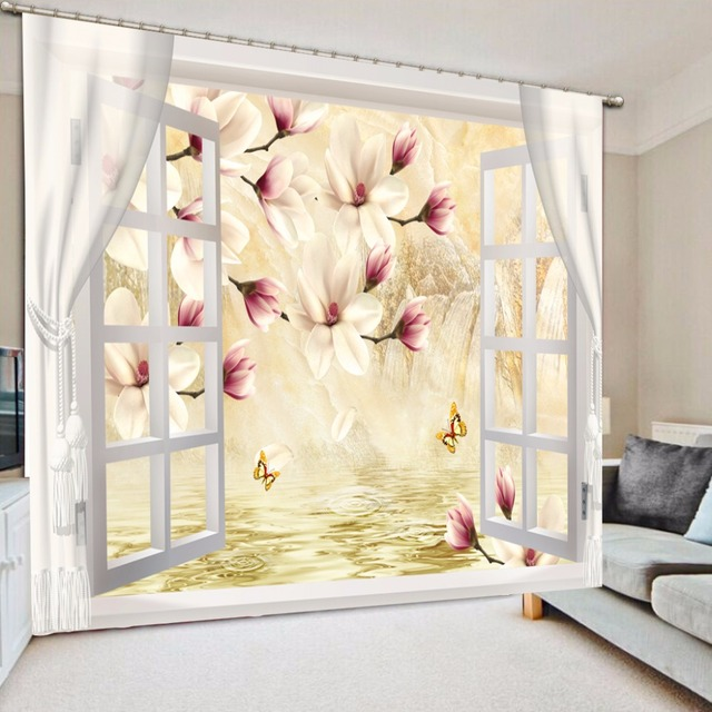 US $76.5 49% OFF|3D Curtains Modern Beautiful Curtains For Living room  Bedroom desinge flower Window Decoration Girl Room Curtains -in Curtains  from ...