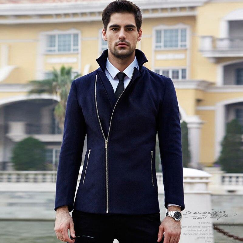 2017 Latest Winter Jackets Men Fashion Zipper Open Design Wool Coat