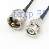 50 CM Pigtail koncentryczny kabel jumper RG174 przedłużacz 20in BNC wtyk męski na UHF wtyk męski złącze RF adapter w Złącza od Lampy i oświetlenie na