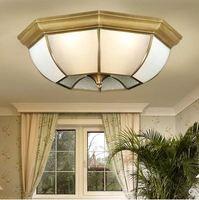 Koper Europese Plafondlamp Volledige Koper Slaapkamer Glas Soldeer Lamp Koperen Verlichting
