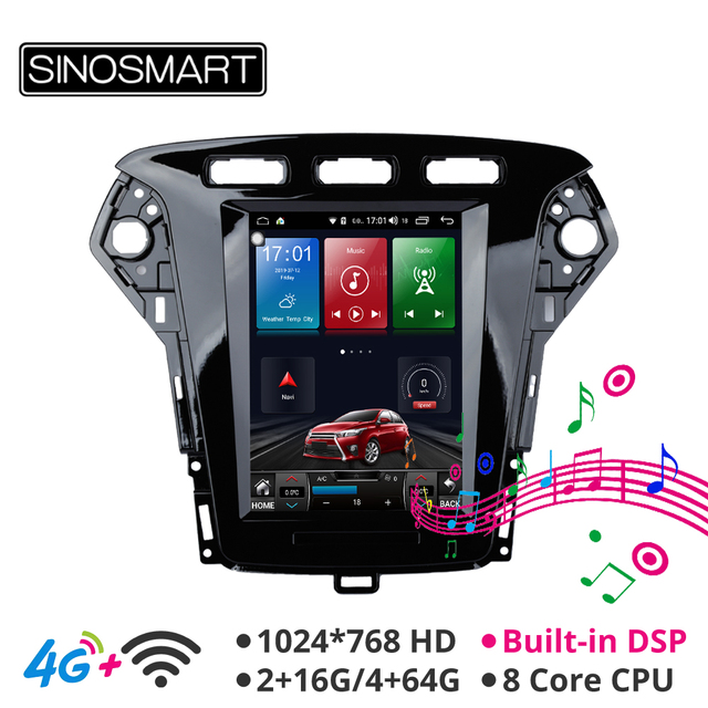 $ US $257.02 Sinosmart Android 8.1 Tesla style car gps multimedia car radio navigation player for Ford Mondeo/Fusion MK4 2011-2013