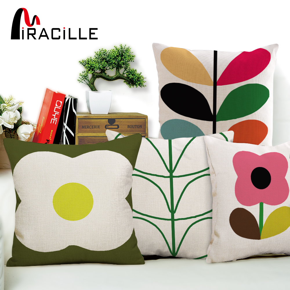 Miracille Flower Petals Cotton Linen Cushion Abstract Leaves Home Decorative Pillows No Filling Bedroom Waist Cushion Decor 18