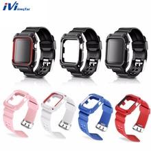 Watchband For Apple 시계 38mm 42mm Series 3 2 1 시계 케이스 밴드 스트랩 견고한 보호 프레임 야외 스포츠 충격 방지
