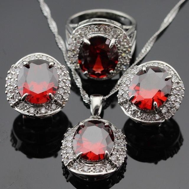 Enorme Criado Red Garnet Branco CZ Cercado Pingente Colar Brincos Conjuntos de Jóias Para As Mulheres de Cor Prata Anéis Caixa de Presente Livre