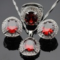 Huge Red Created Garnet White CZ Surrounded Jewelry Sets For Women Silver Color Earrings Necklace Pendant Rings Free Gift Box