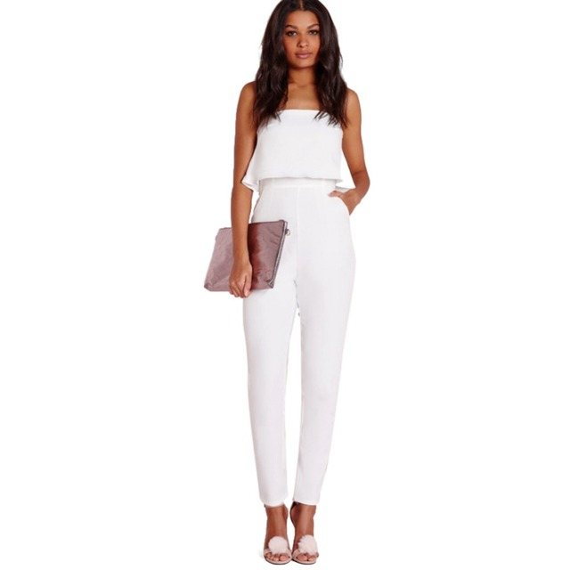 Women Sexy Strapless Jumpsuits 2016 Summer Lady White Sleeveless Slash Neck Club Jumpsuit Long Pants One Piece Overalls Rompers