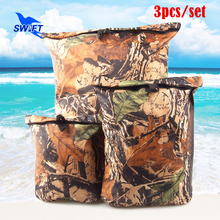3PCS/Set Camouflage Ultralight Nylon Waterproof Stuff Dry Bag 2016 Rafting Drifting Swimming Diving Snorkeling Swimsuit Pool Bag